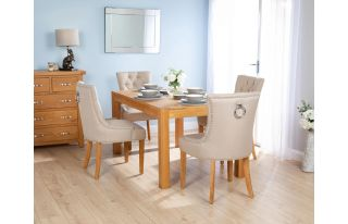 Rectangular Oak Dining Table and 4 Cream Linen Verona Dining Chairs