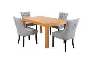 Rectangular Oak Dining Table and 4 Grey Linen Verona Dining Chairs with Black Legs