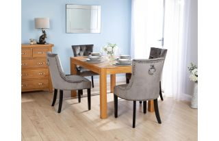 Rectangular Oak Dining Table and 4 Grey Velvet Verona Dining Chairs with Chrome Knocker and Black Legs