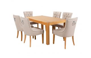 Rectangular Oak Dining Table and 6 Cream Linen Verona Dining Chairs