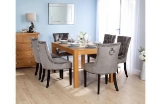 Rectangular Oak Dining Table and 6 Grey Velvet Verona Dining Chairs with Chrome Knocker and Black Legs