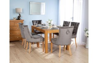 Rectangular Oak Dining Table and 6 Grey Velvet Verona Dining Chairs with Chrome Knocker