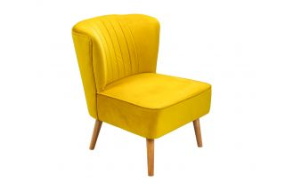Lucy Oyster Accent Chair in Mustard Velvet with Natural Leg