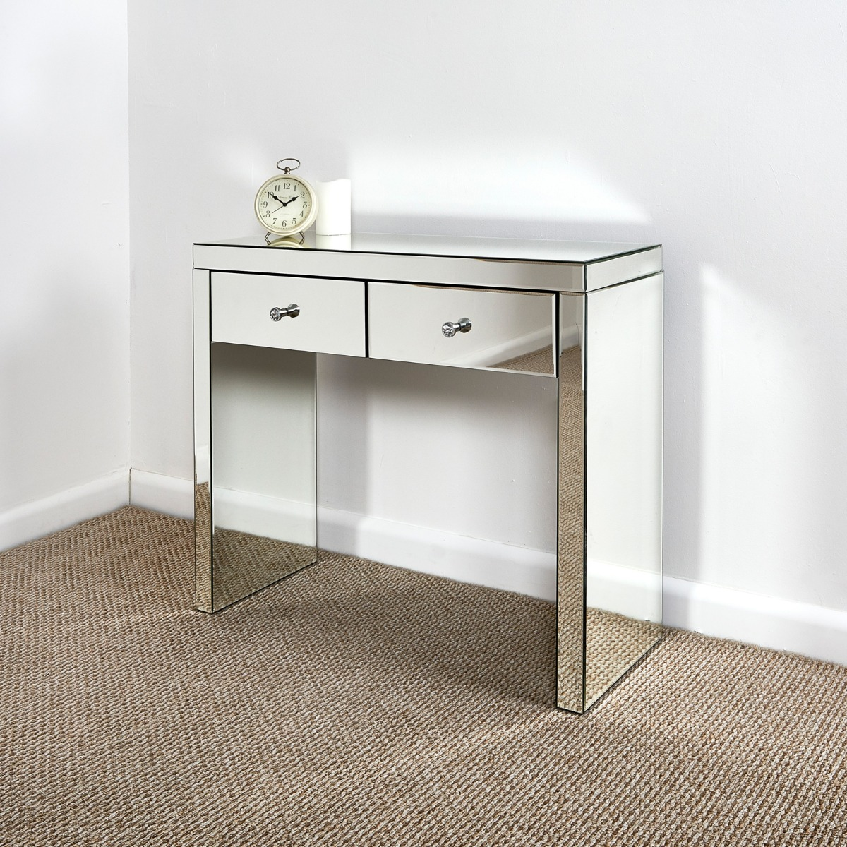 Glass mirrored furniture dressing tables console