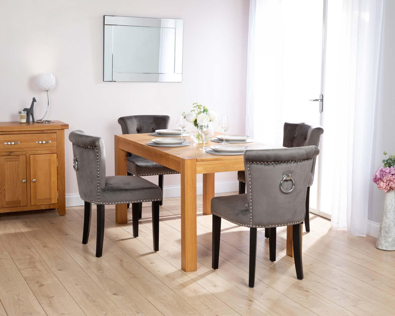 Rectangular Oak Dining Table And 4 Grey Velvet Camden Dining Chairs With Chrome Knocker
