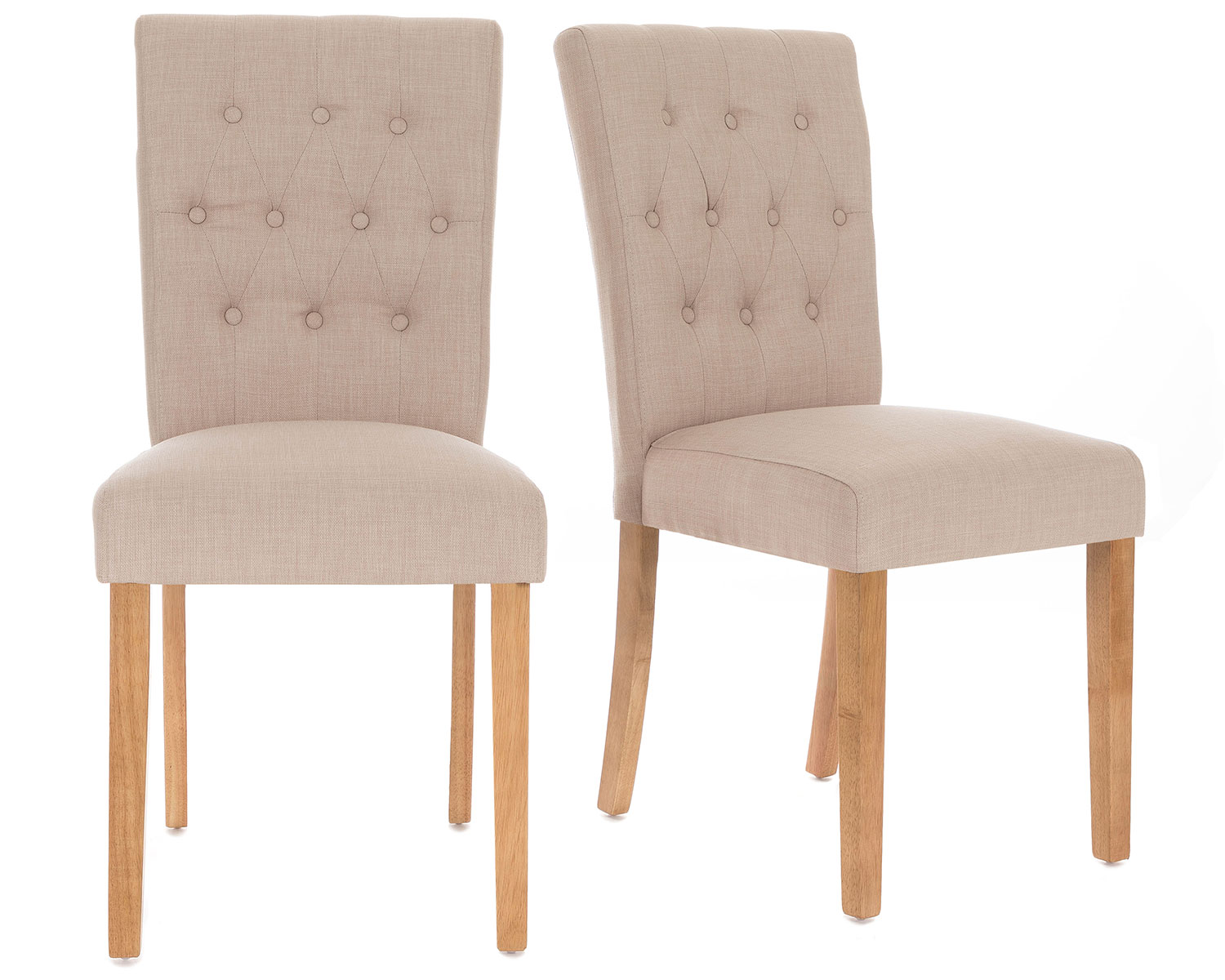 Pair of Florence Button back Linen Dining Chairs in Cream