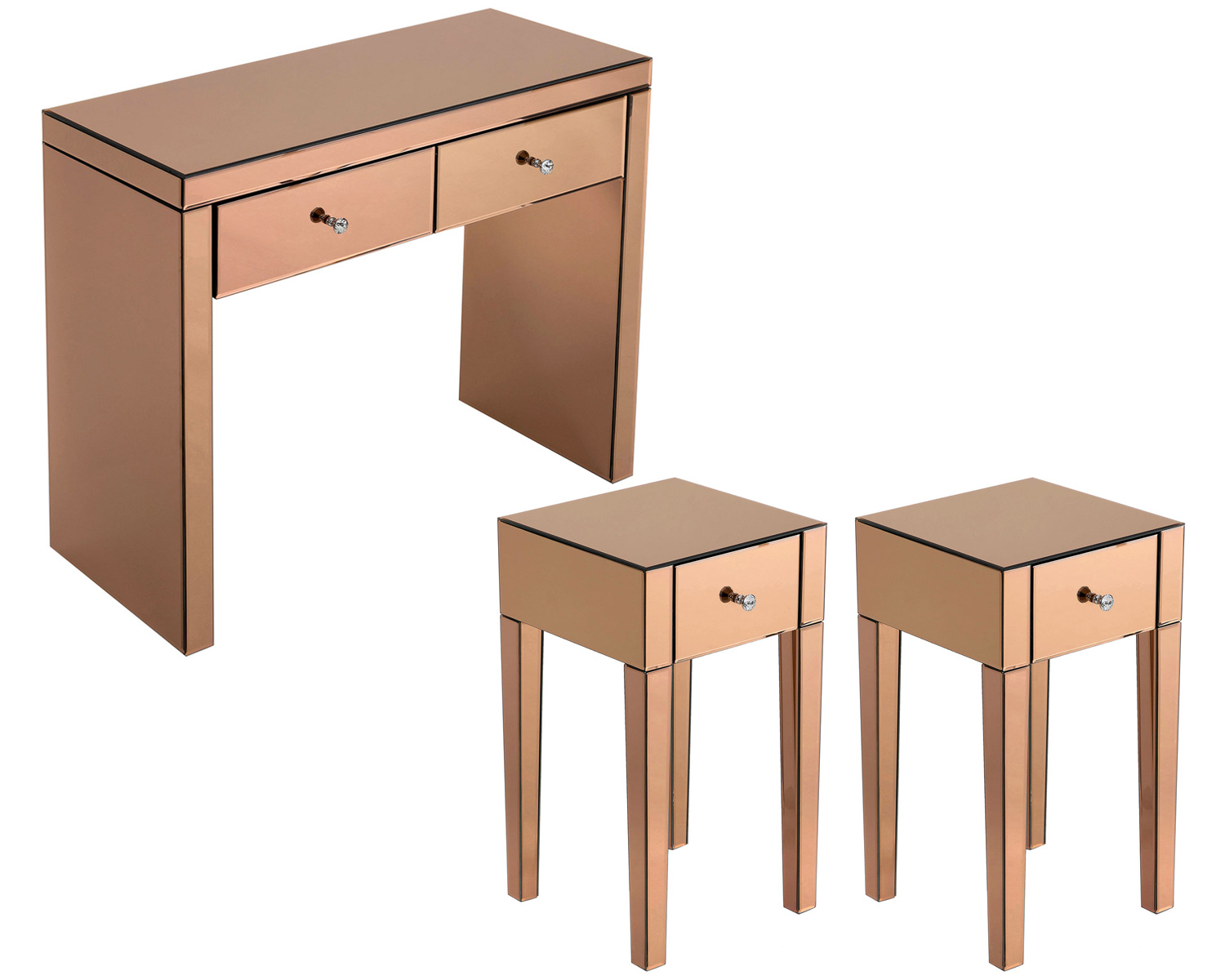 Monroe Console Table Set with 2 x 1 Drawer Bedside Tables in Rose Gold