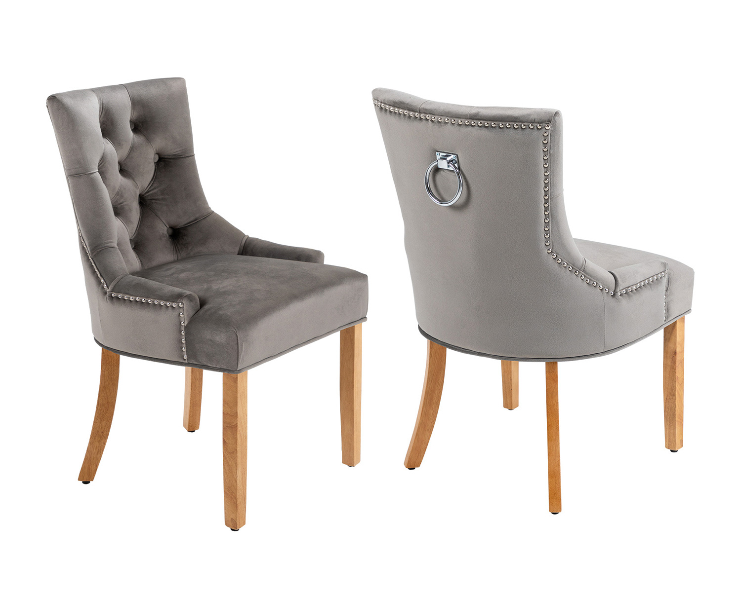 Verona Scoop Back Velvet Dining Chairs In Grey With Knocker And Oak Legs