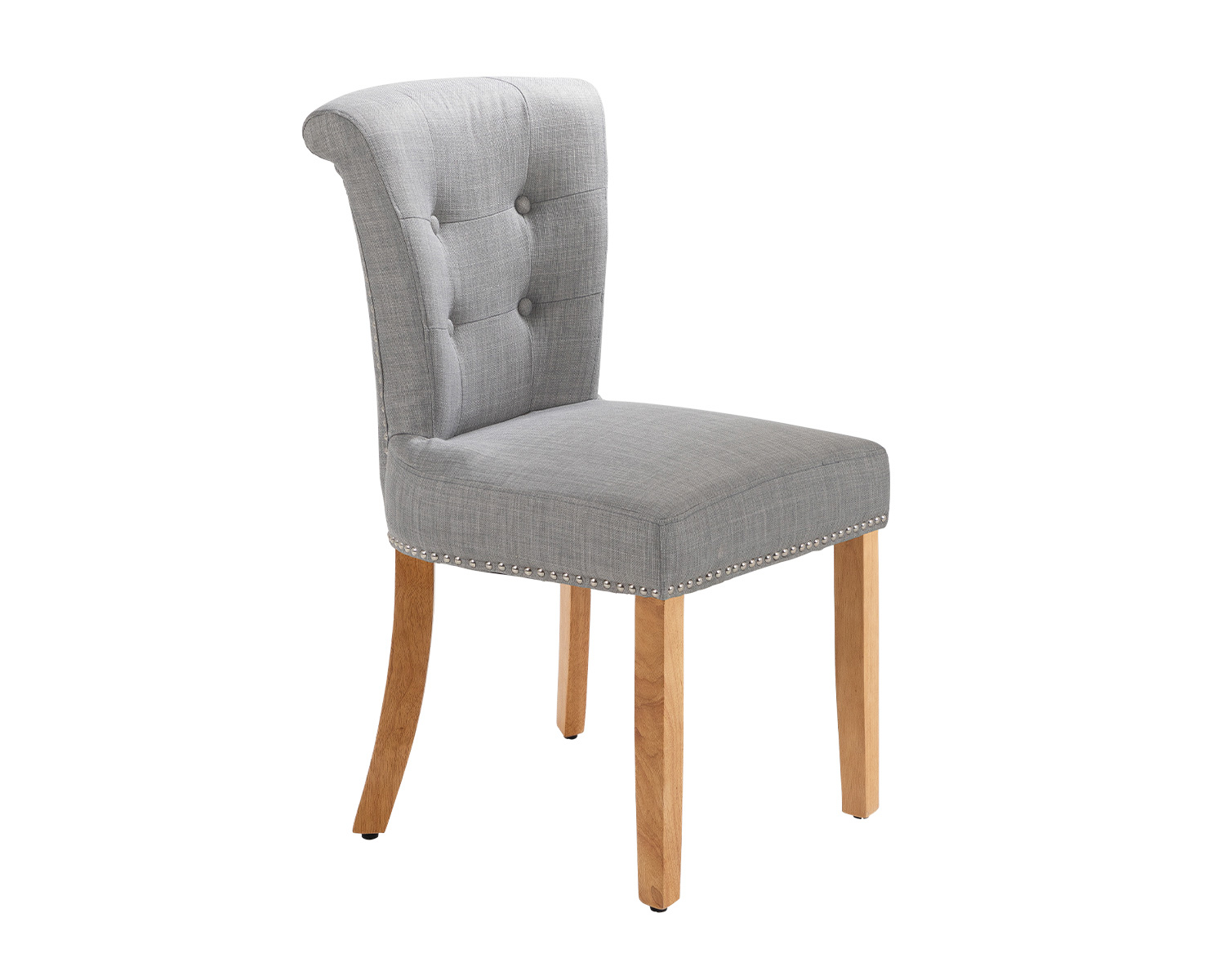 Camden Dining Chair In Grey Linen With Chrome Knocker And Oak Legs